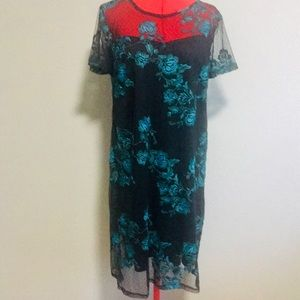 Lane Bryant black dress with lace flower overlay